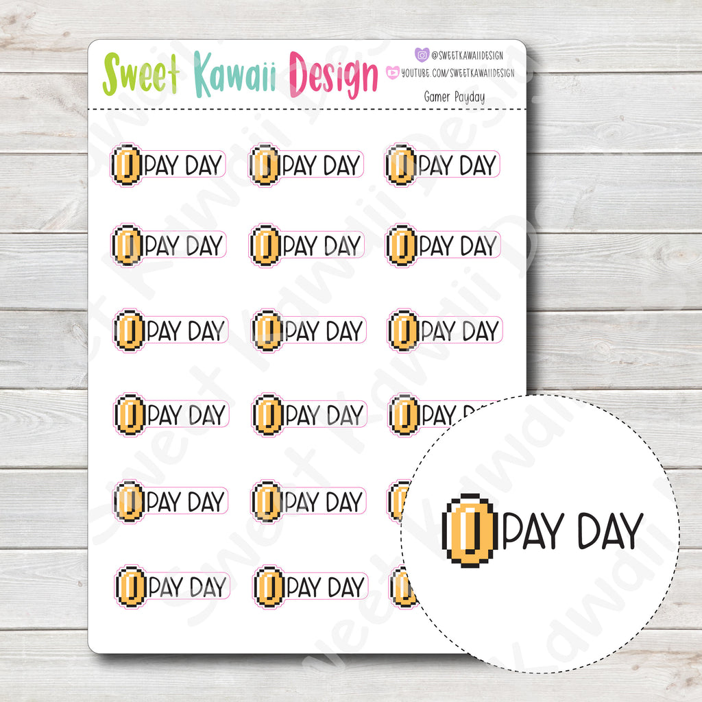 Kawaii Gamer Stickers - Payday