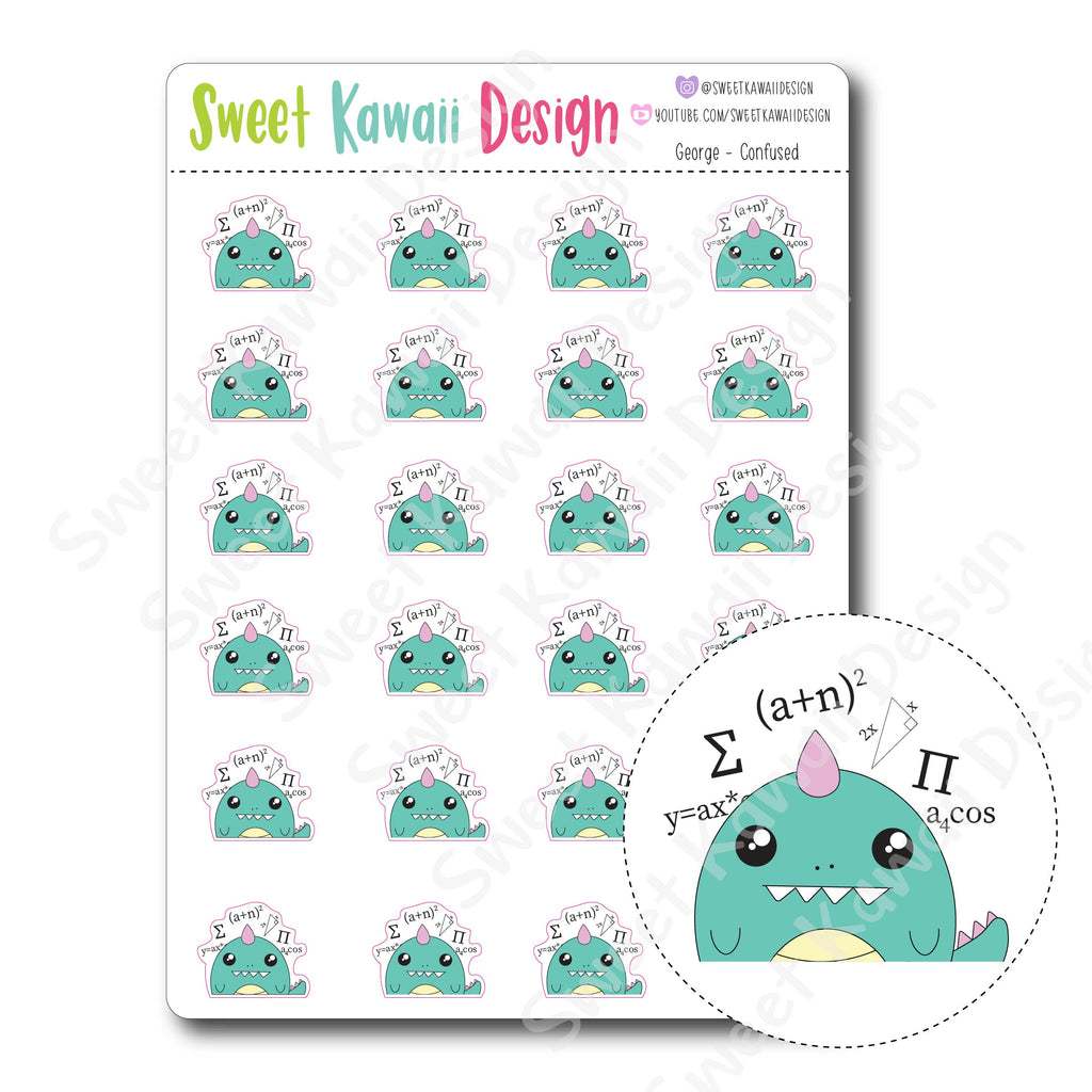Kawaii George Stickers - Confused