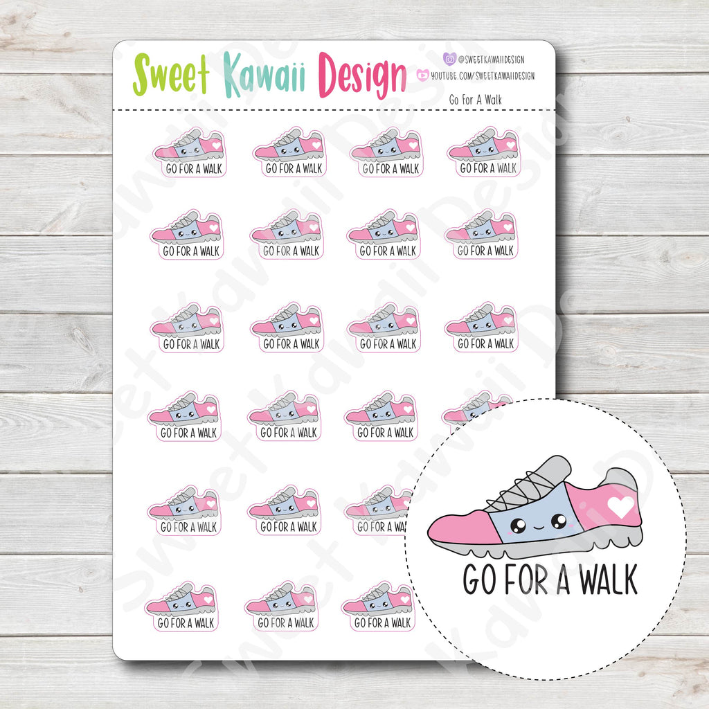 Kawaii Go For A Walk Stickers
