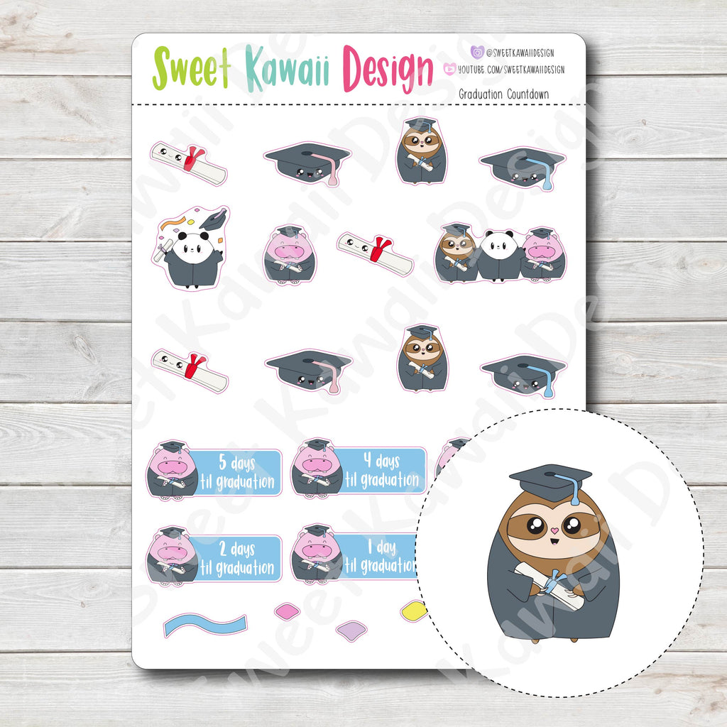 Kawaii Graduation Countdown Stickers