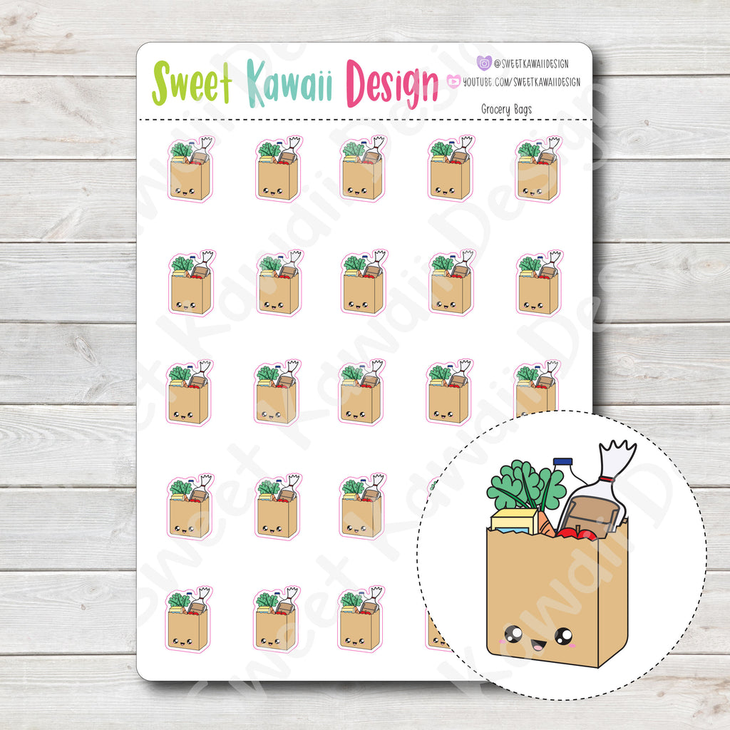 Kawaii Grocery Bag Stickers