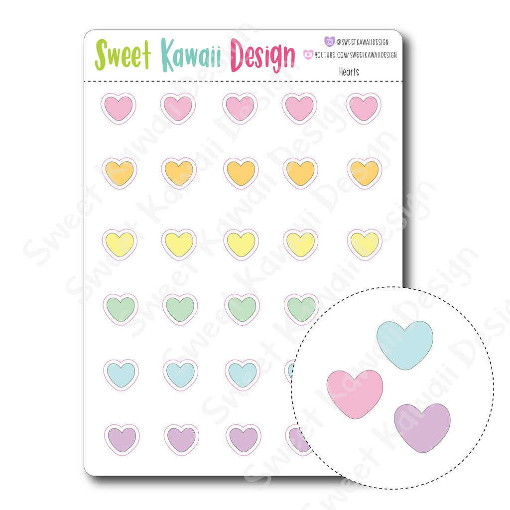 Kawaii Heart Stickers