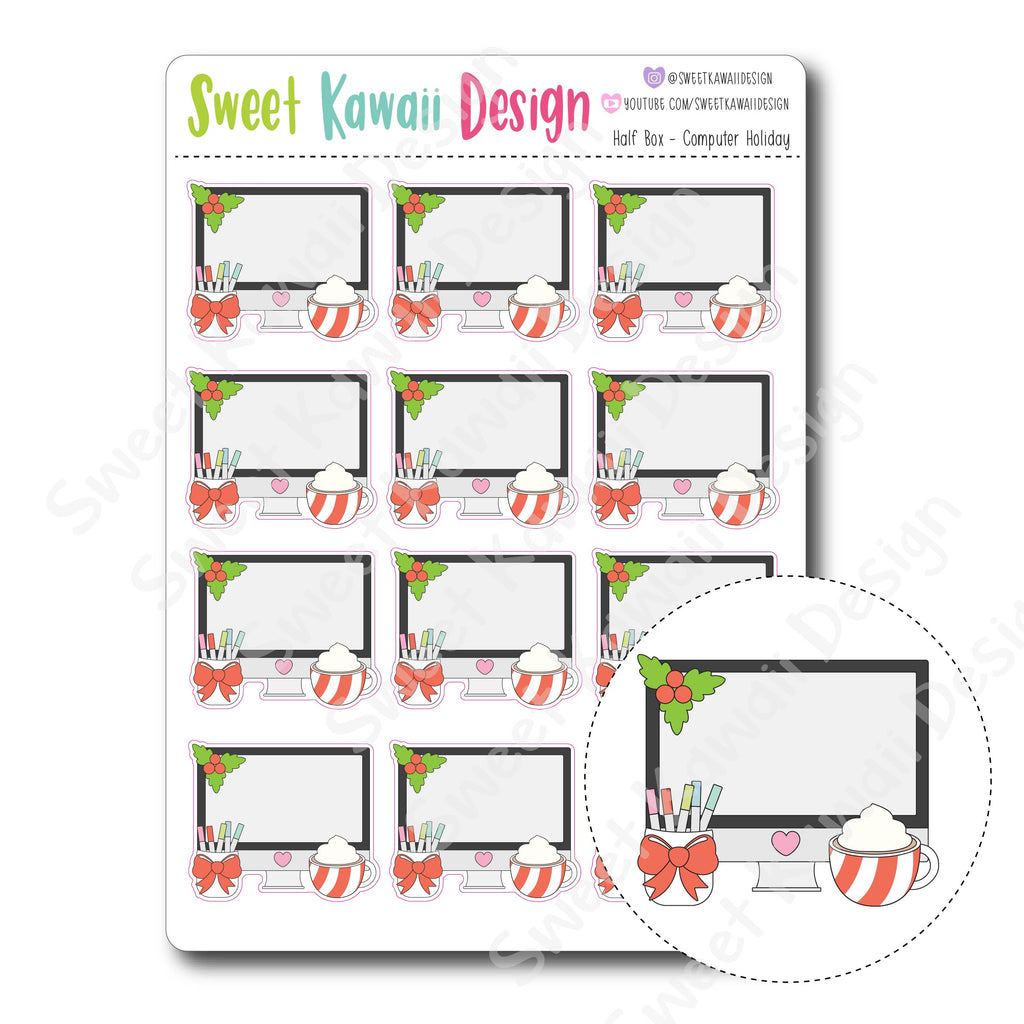 Kawaii Half Box Stickers - Holiday Computer