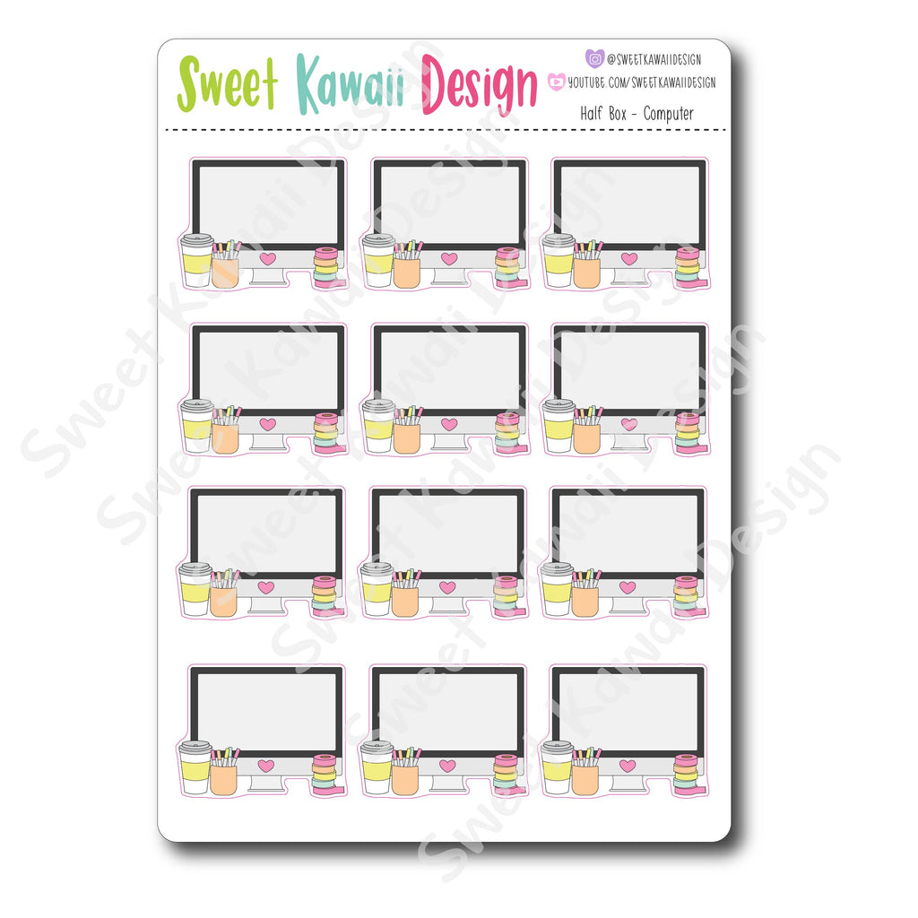 Kawaii Half Box Stickers - Computer