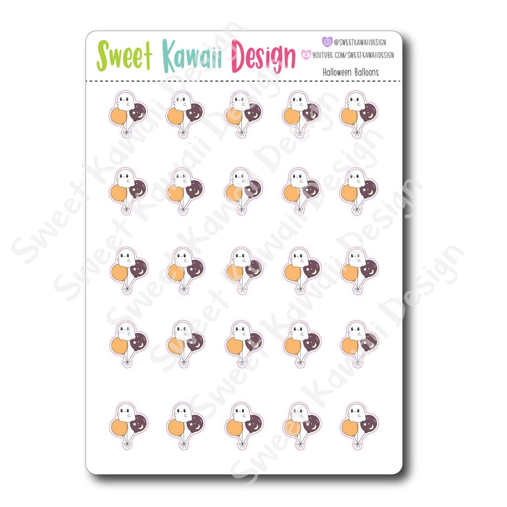 Kawaii Halloween Balloon Stickers