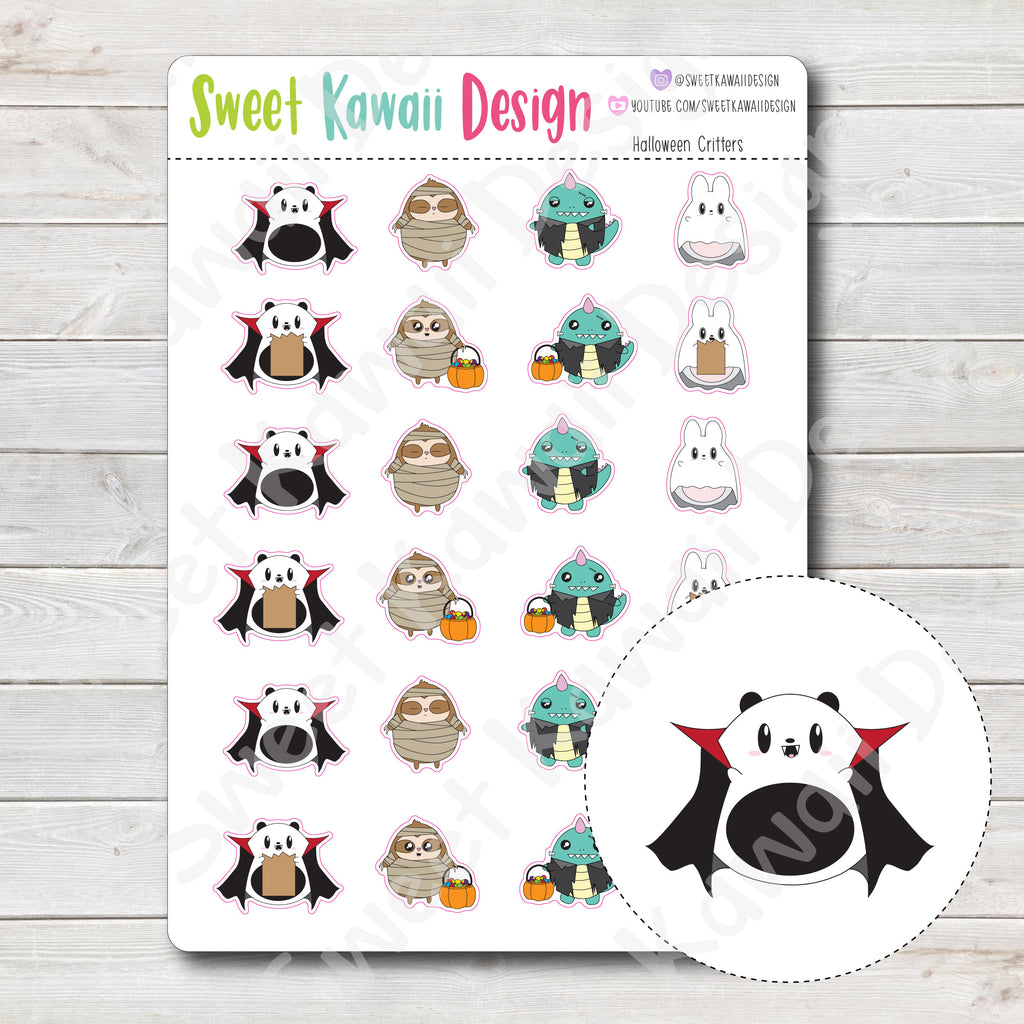 Kawaii Halloween Critter Stickers
