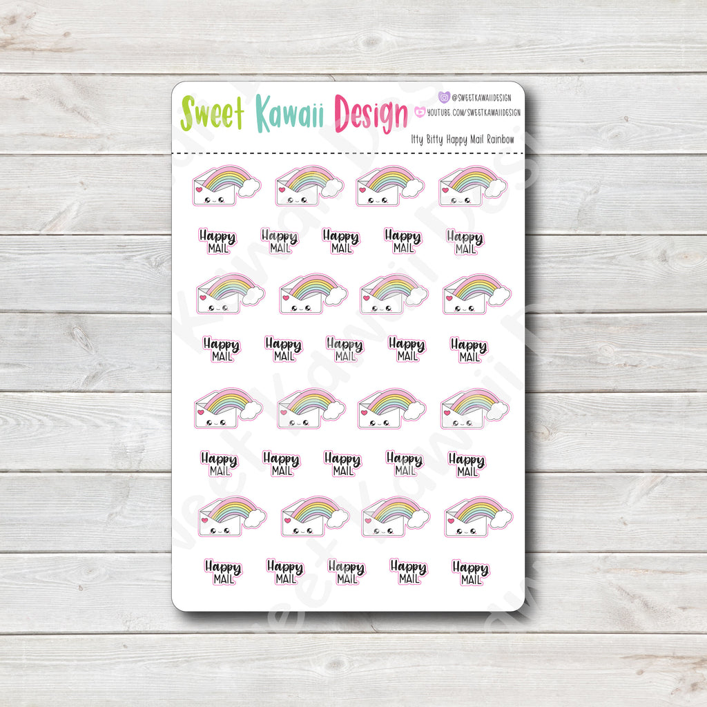 Kawaii Happy Mail Stickers - Rainbow