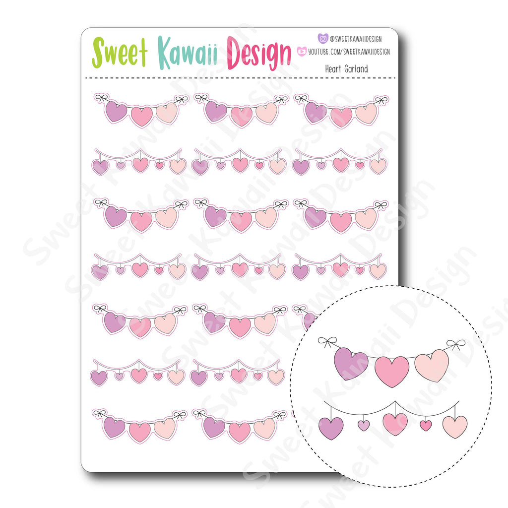 Kawaii Heart Garland Stickers