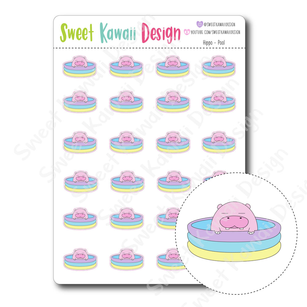 Kawaii Hippo Stickers - Pool
