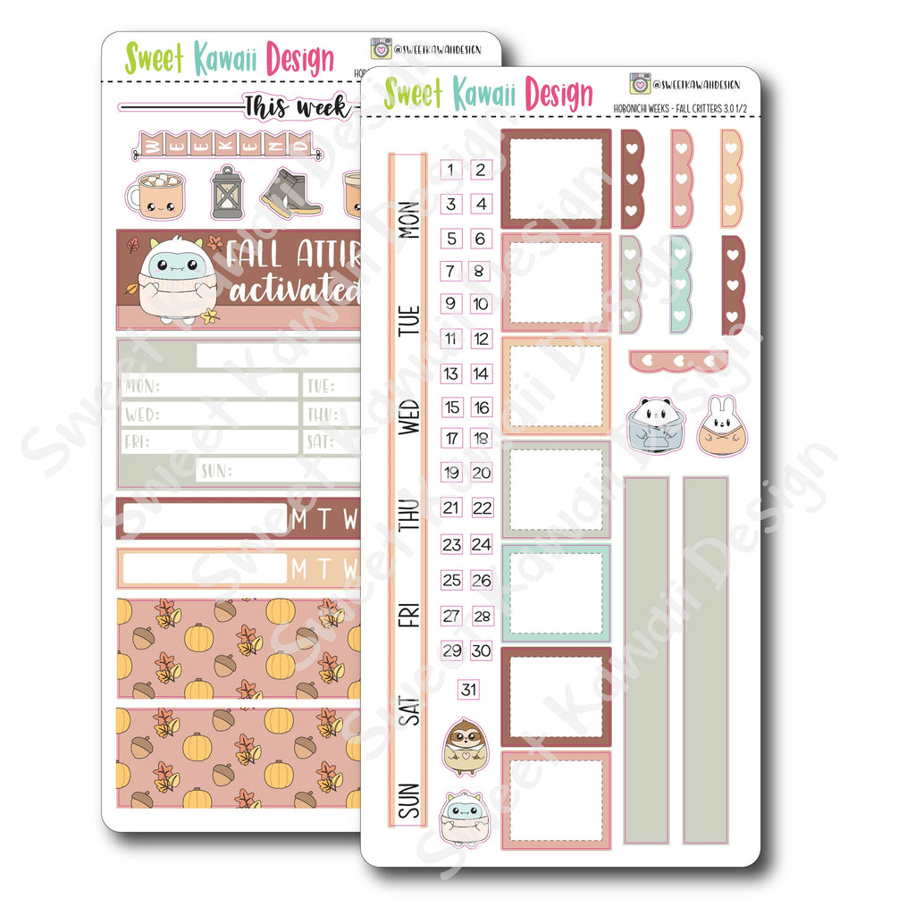 Kawaii Hobonichi Weeks Stickers - Fall Critters