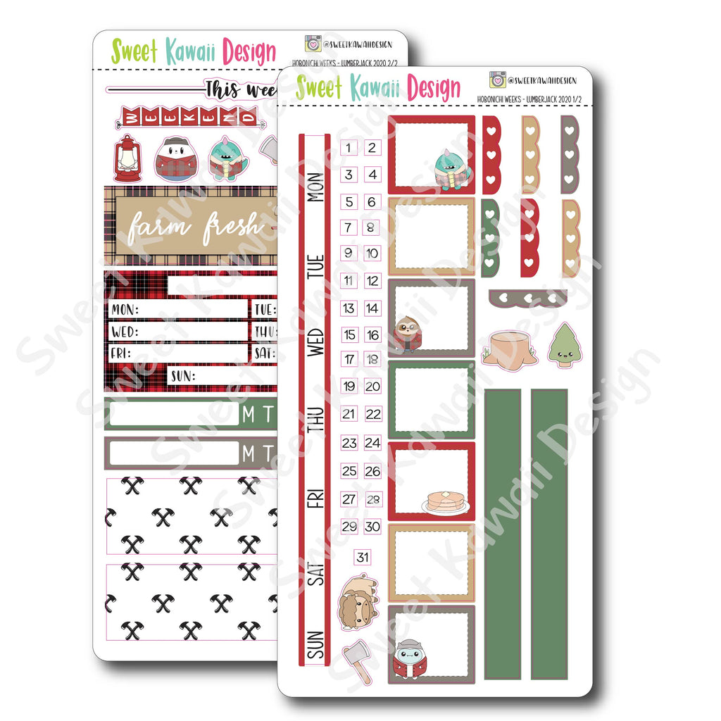Kawaii Hobonichi Weeks Stickers - Lumberjack 2020