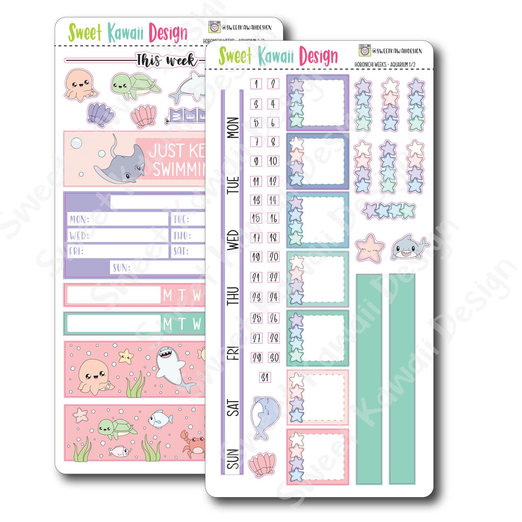 Kawaii Hobonichi Weeks Stickers - Aquarium