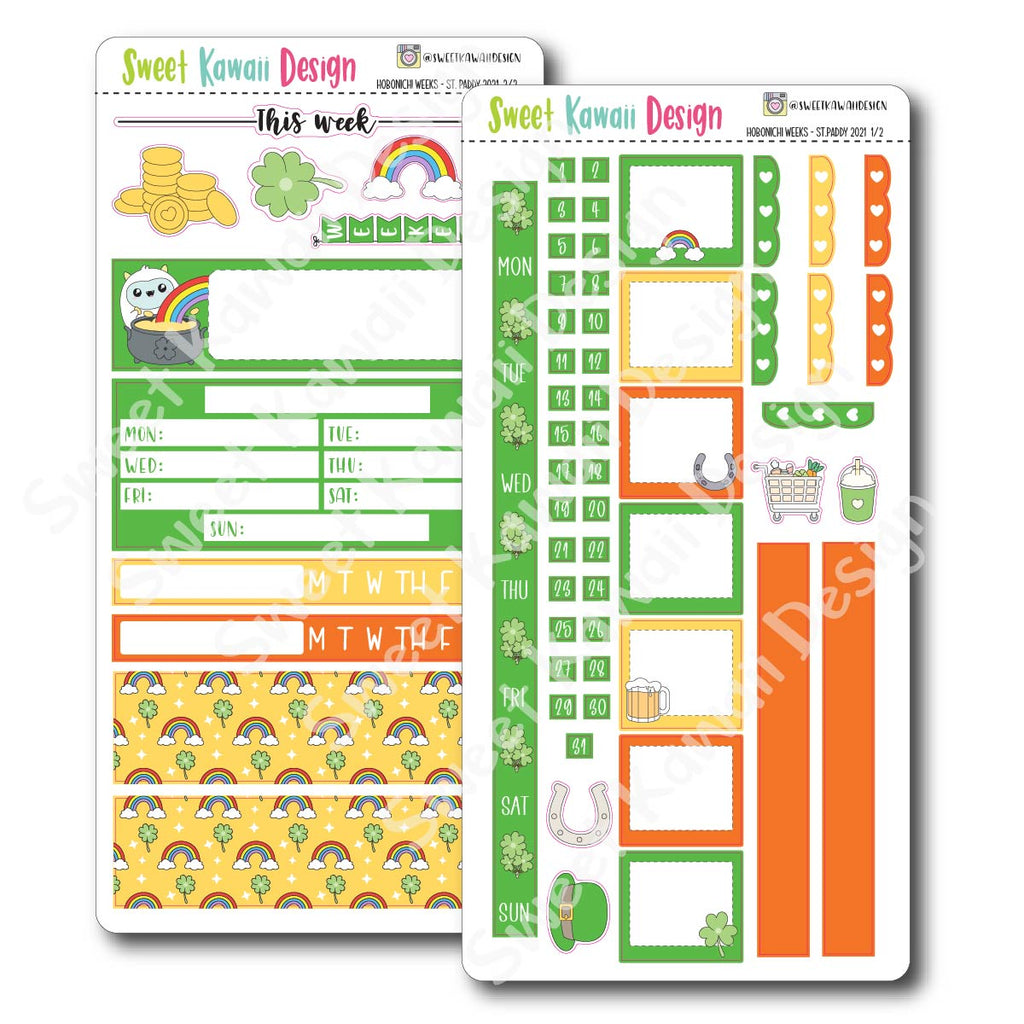Kawaii Hobonichi Weeks Stickers - St. Paddy's Day