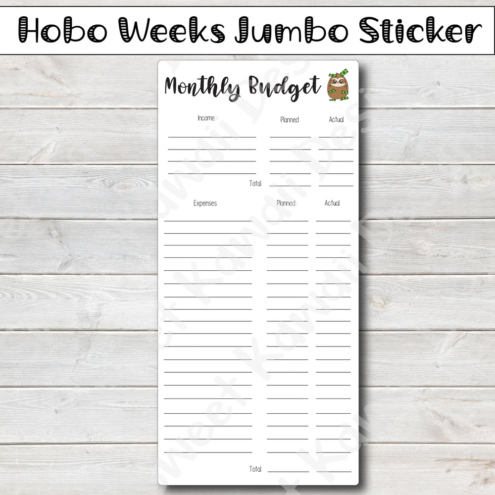 Kawaii Hobonichi Weeks Jumbo Sticker - Monthly Budget