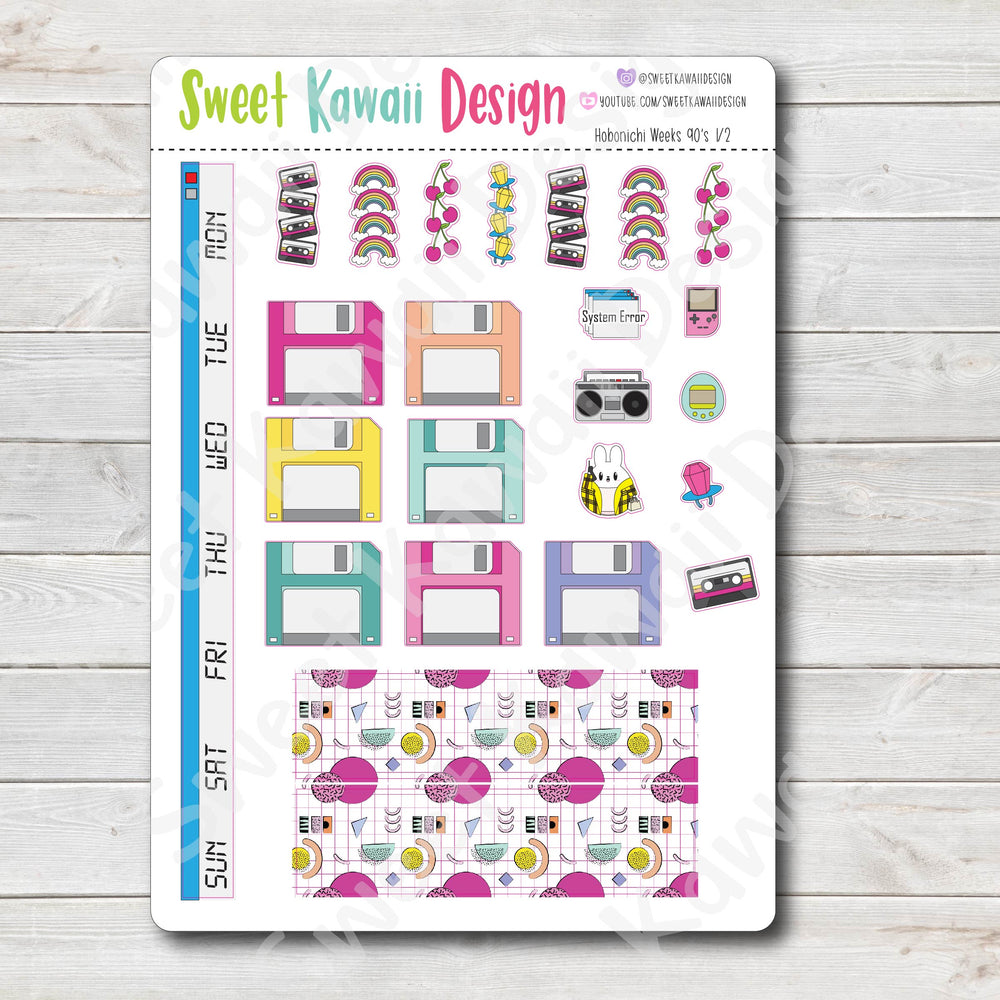 Kawaii Hobonichi Weeks Stickers - 90's Kit