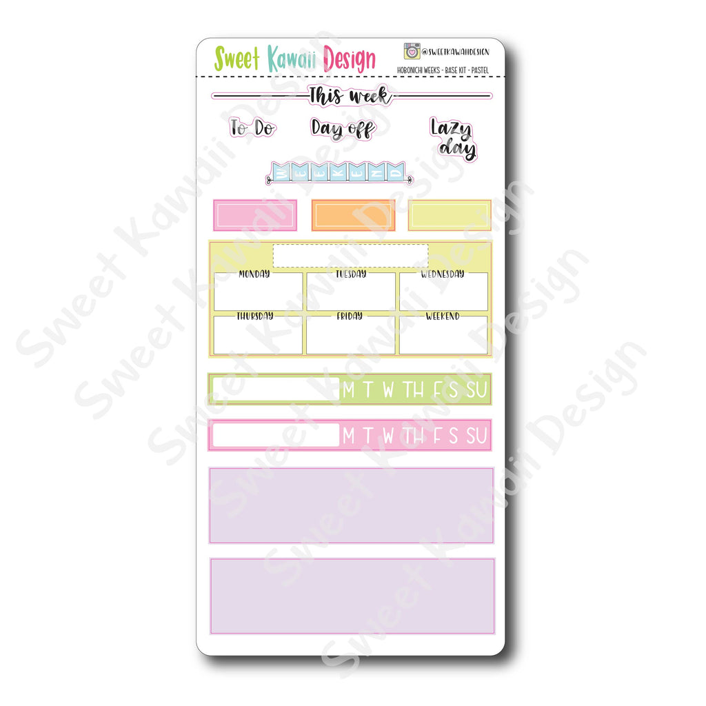 Kawaii Hobonichi Weeks Stickers - Base Kit - Pastel