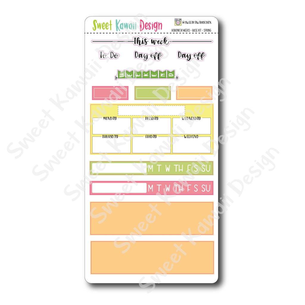 Kawaii Hobonichi Weeks Stickers - Base Kit - Spring