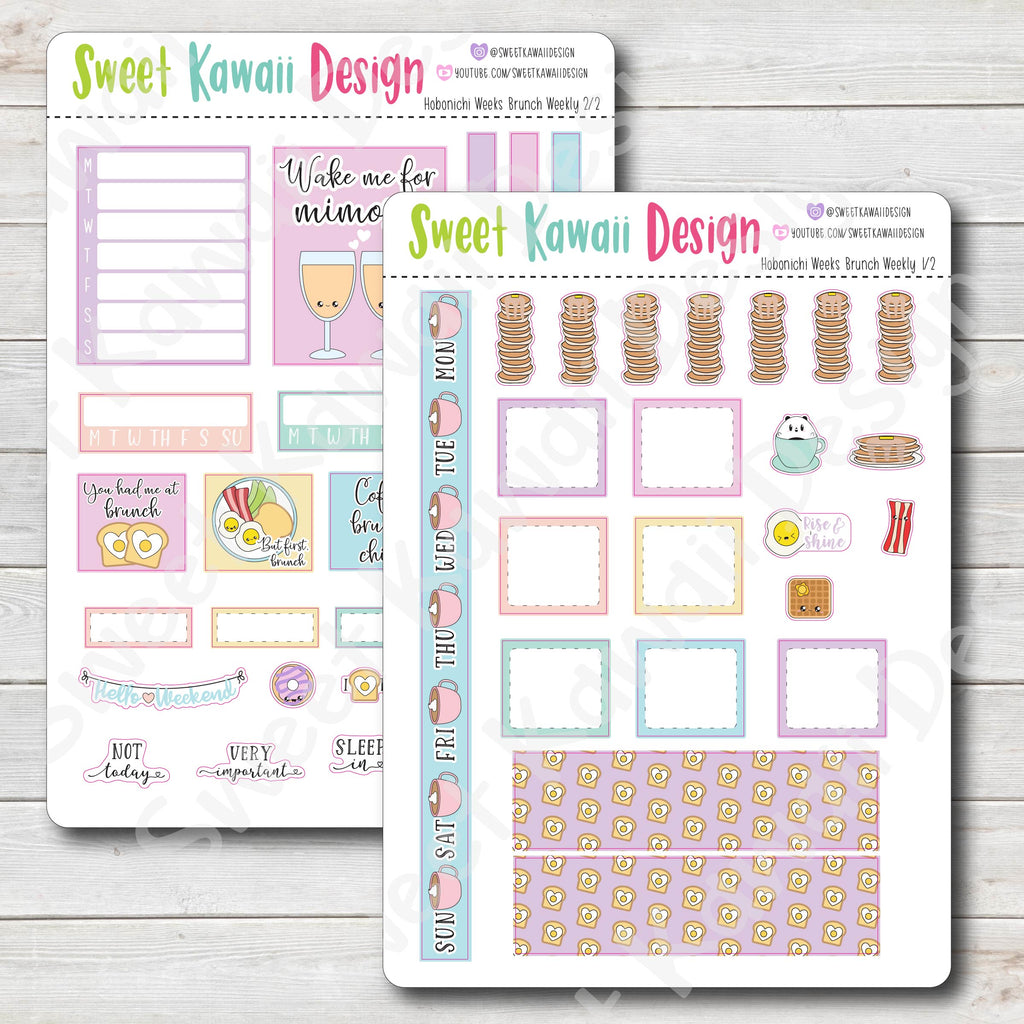 Kawaii Hobonichi Weeks Stickers - Brunch Kit