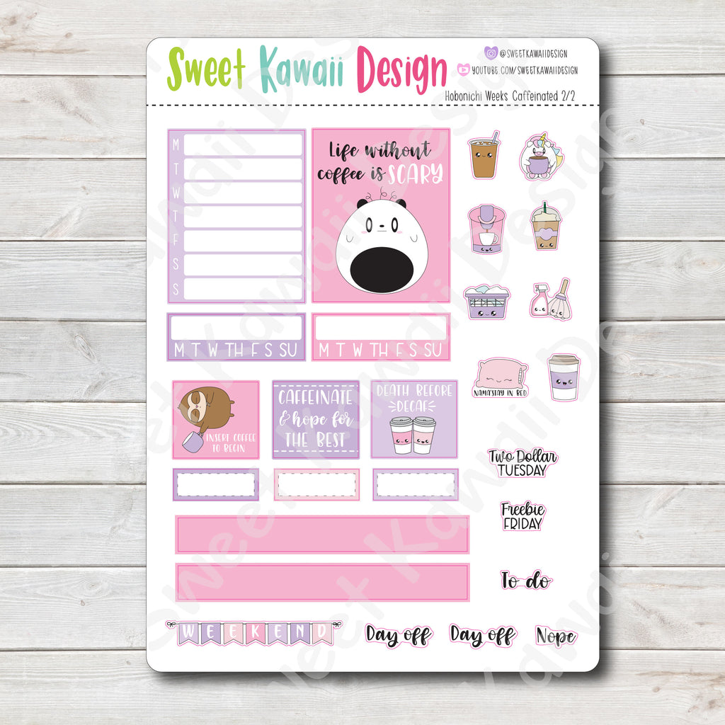 Kawaii Hobonichi Weeks Stickers - Caffeinated Kit