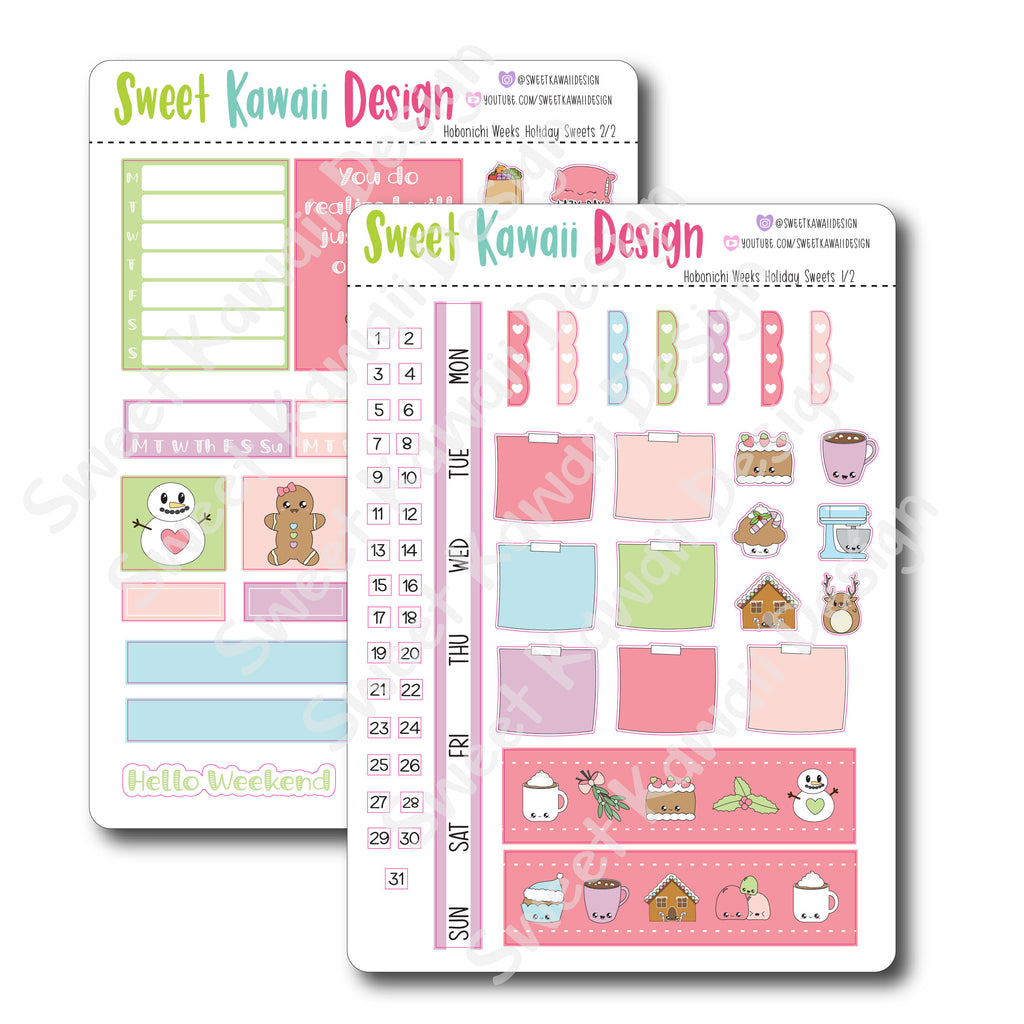 Kawaii Hobonichi Weeks Stickers - Holiday Sweets