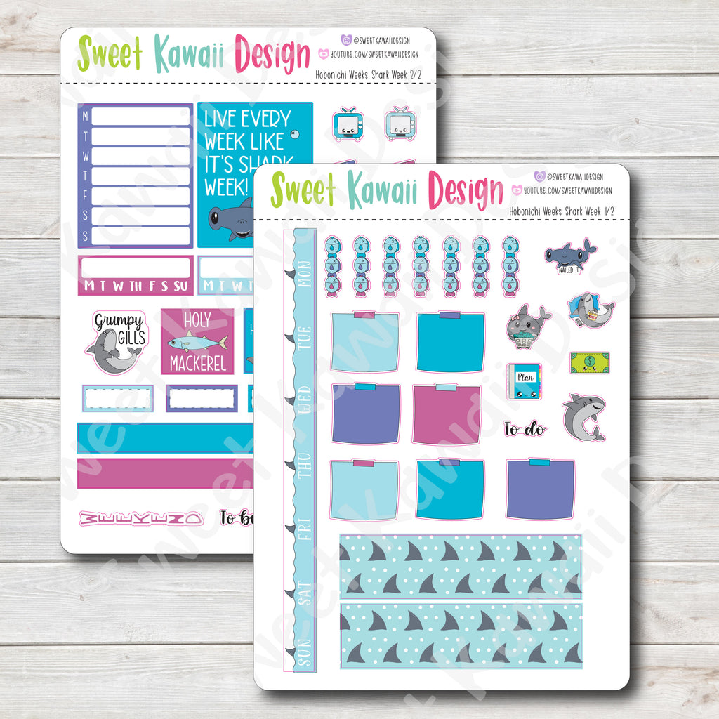 Kawaii Hobonichi Weeks Stickers - Shark Week Kit