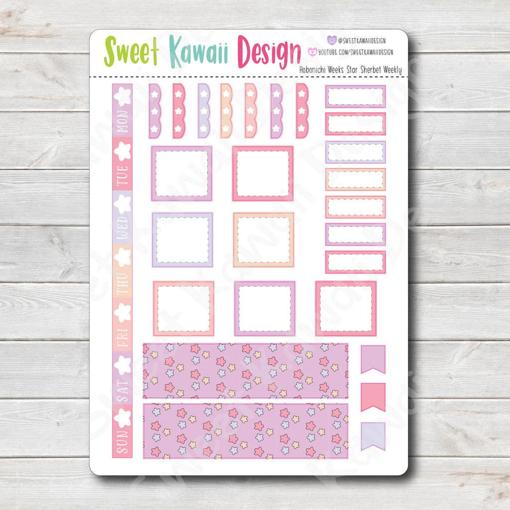 Kawaii Hobonichi Weeks Stickers - Star Sherbet
