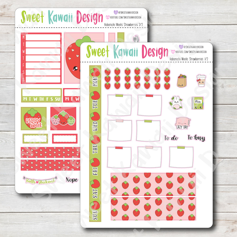 Kawaii Hobonichi Weeks Stickers - Strawberries Kit