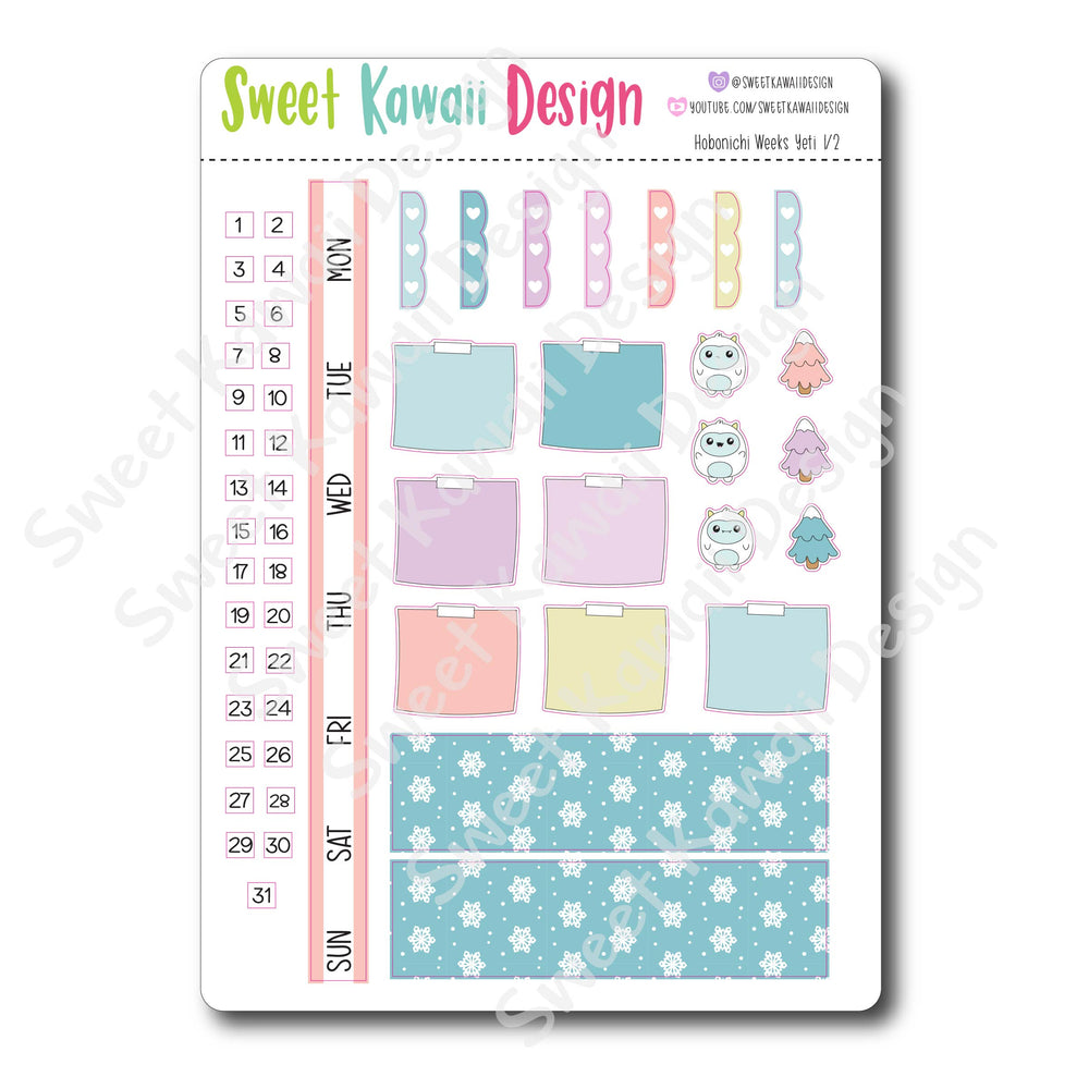 Kawaii Hobonichi Weeks Stickers - Yeti