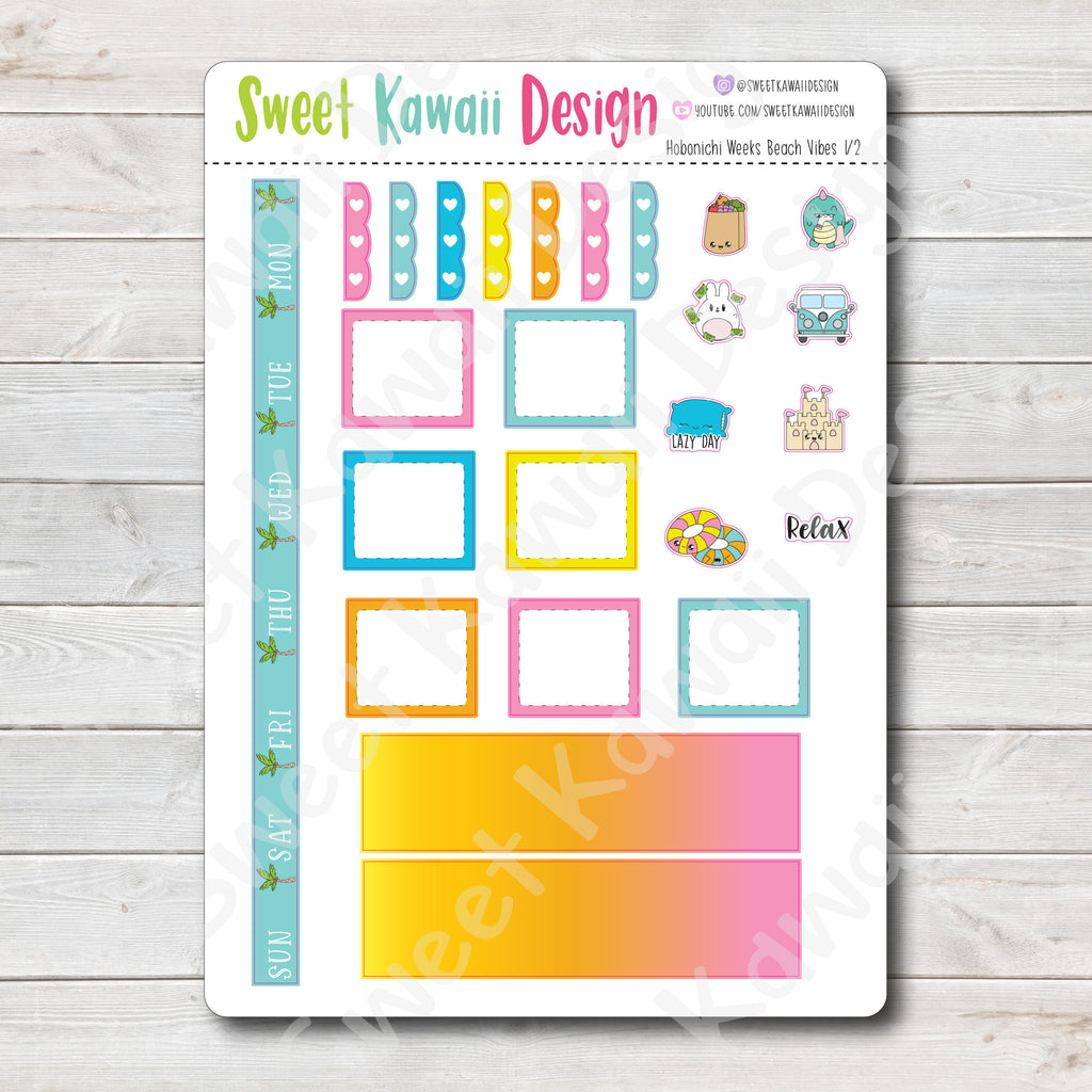 Kawaii Hobonichi Weeks Stickers - Beach Vibes Kit