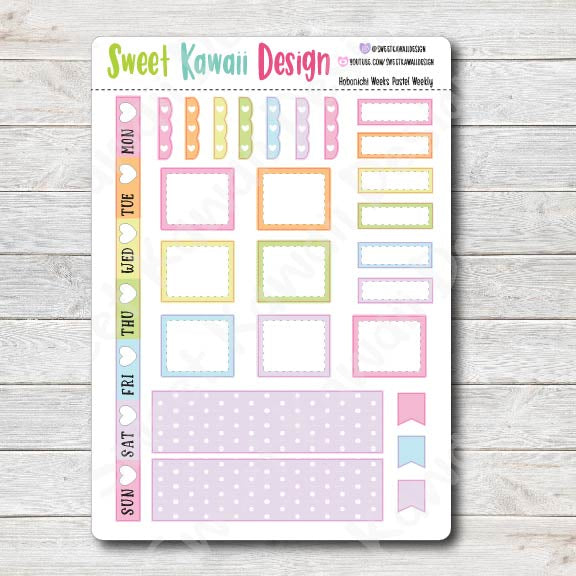 Kawaii Hobonichi Weeks Stickers - Pastel