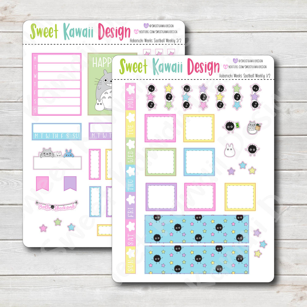 Kawaii Hobonichi Weeks Stickers - Sootball Kit
