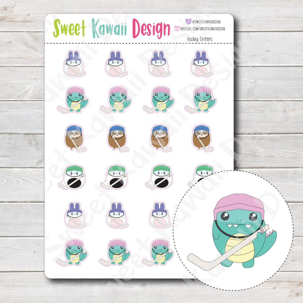 Kawaii Hockey Critters Stickers