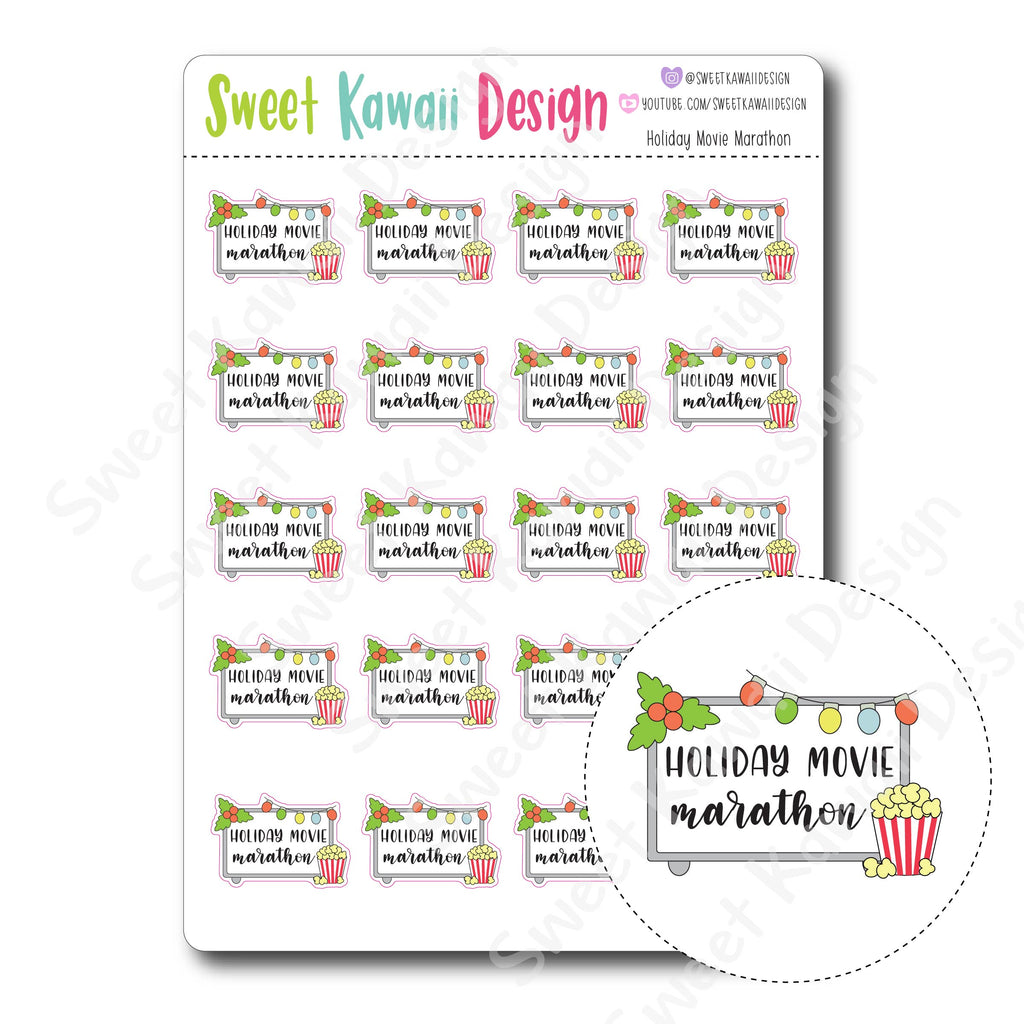 Kawaii Holiday Movie Marathon Stickers