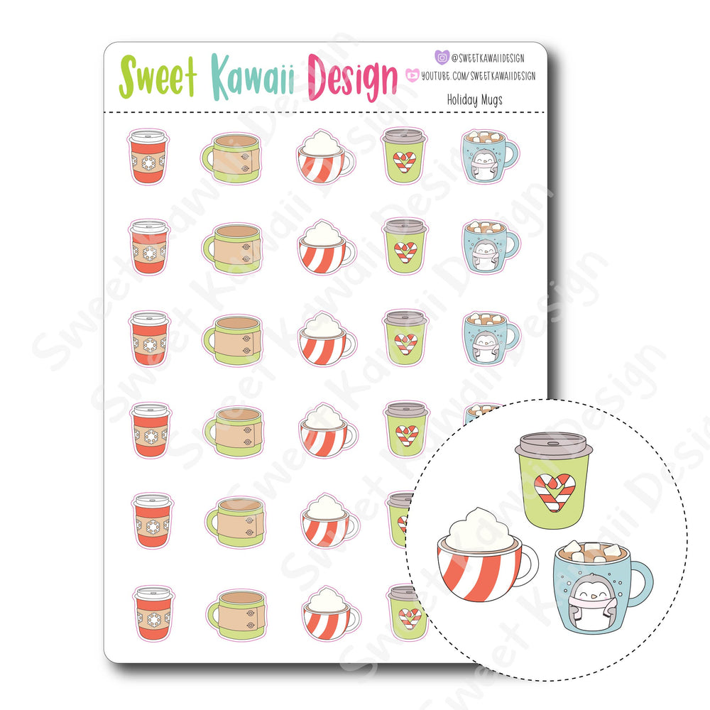 Kawaii Holiday Mug Stickers