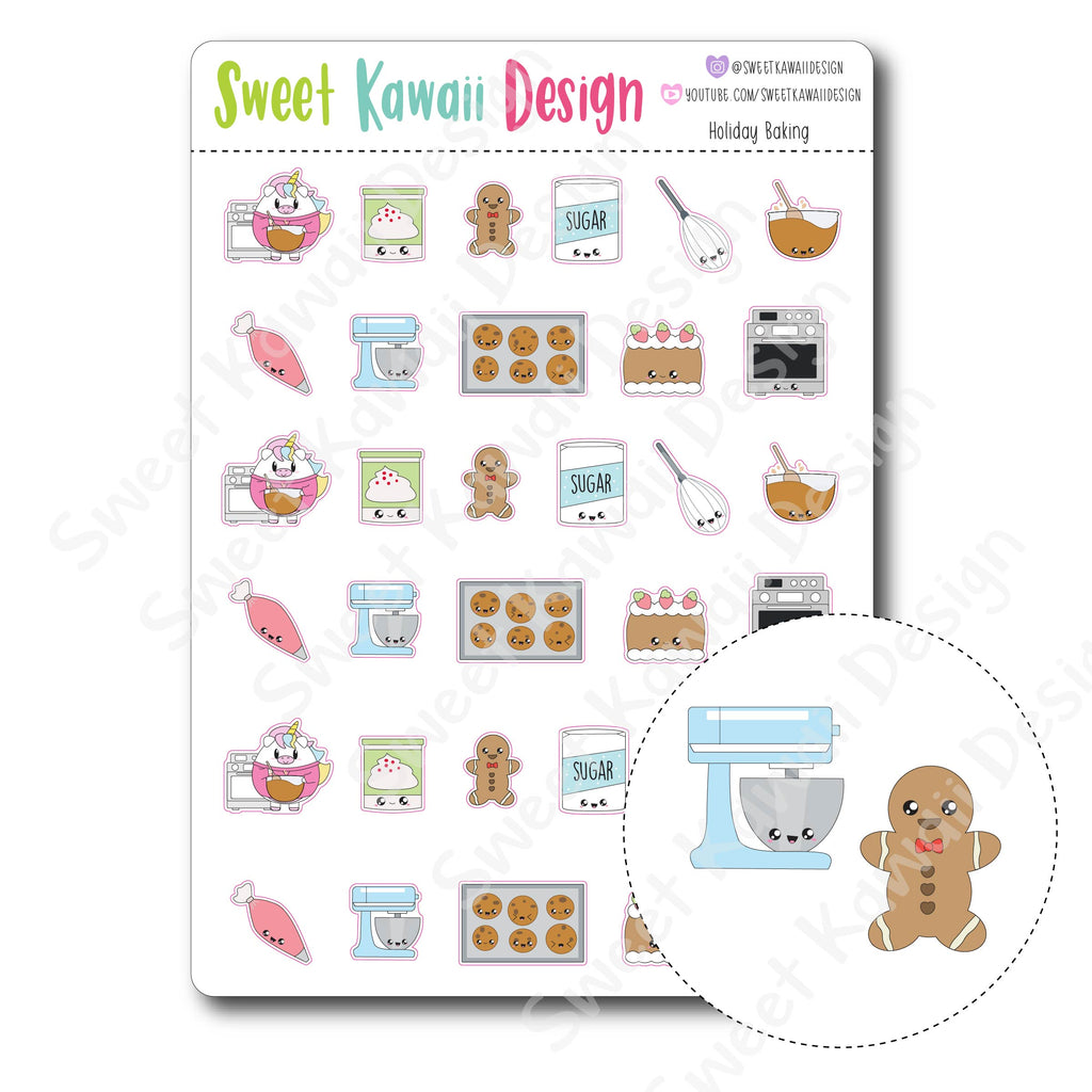 Kawaii Holiday Baking Stickers