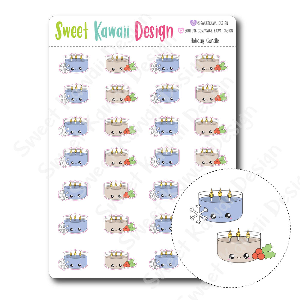 Kawaii Holiday Candle Stickers