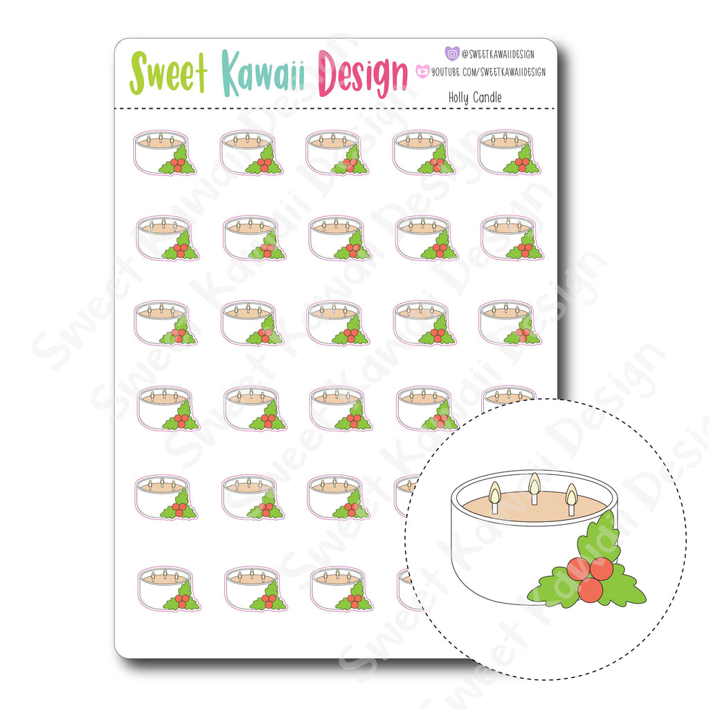 Kawaii Holly Candle Stickers