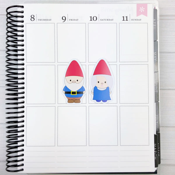 Kawaii Mini Gnome Die Cut Stickers - Different skintones available