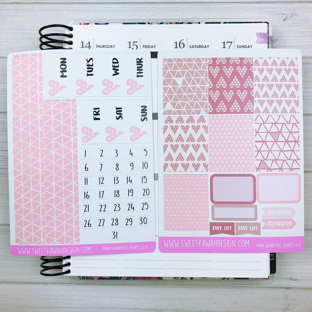 Kawaii Plan With Me - Geometric Hearts