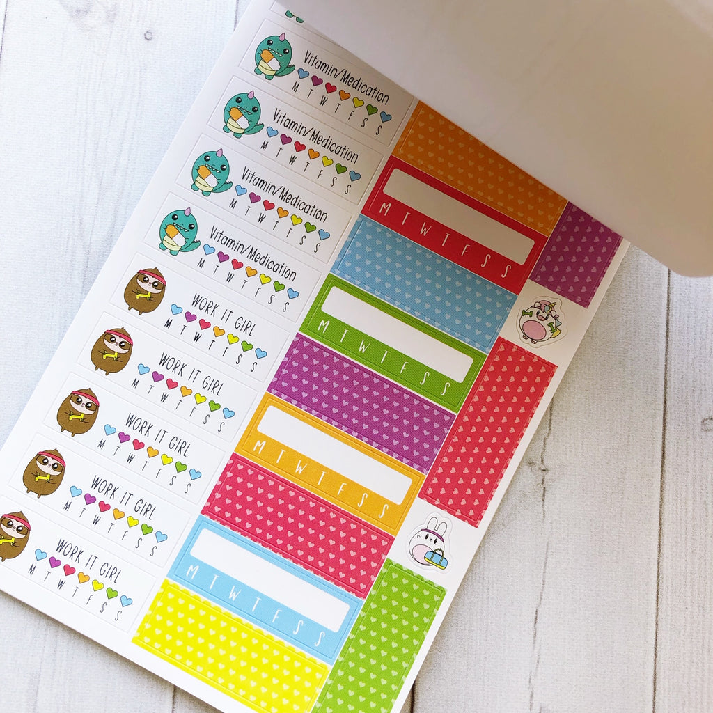 Sweet Kawaii Design Sticker Book - Fitness