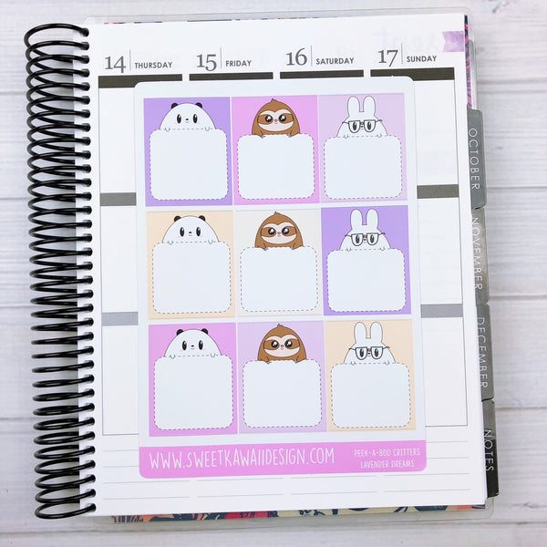 Kawaii Peek-a-boo Critters Stickers - More Colors Available