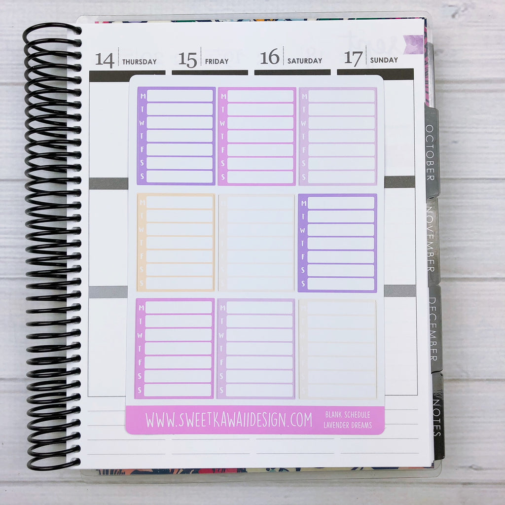 Kawaii Blank Schedule Stickers - More Colors Available
