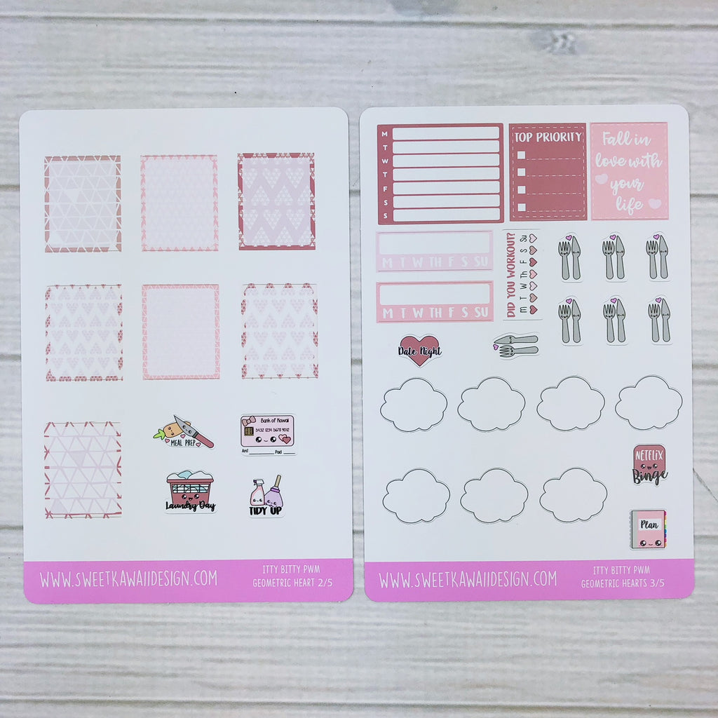 ITTY BITTY Weekly Kit  - Geometric Hearts