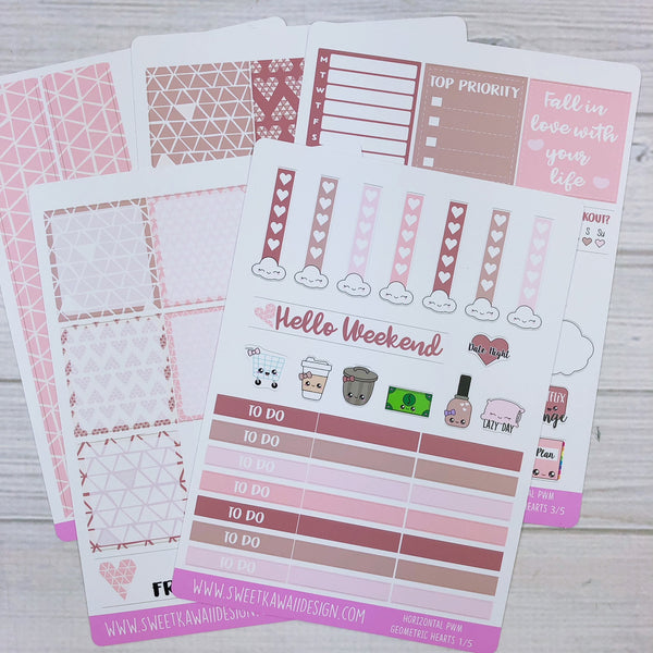 Kawaii Plan With Me - Geometric Hearts HORIZONTAL