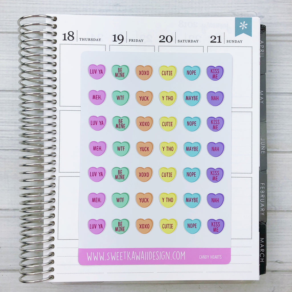Kawaii Candy Heart Stickers