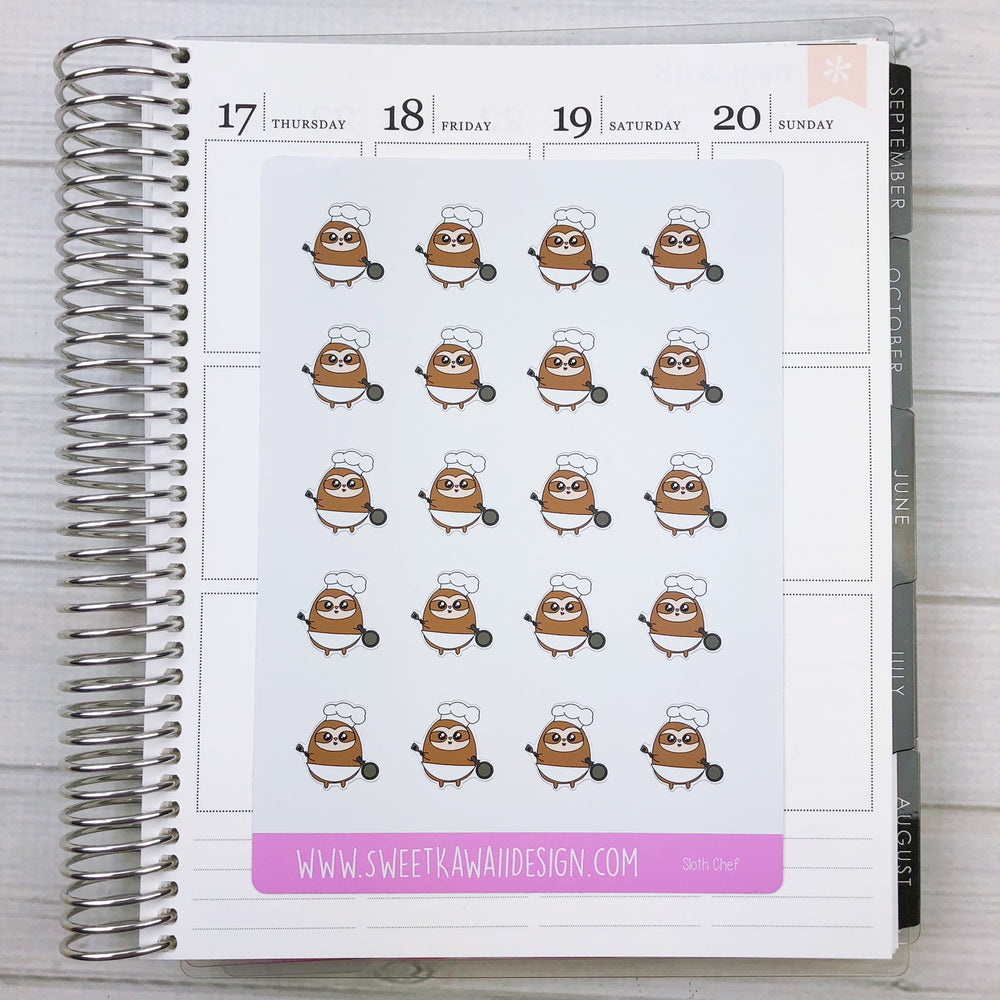 Kawaii Sloth Stickers - Chef