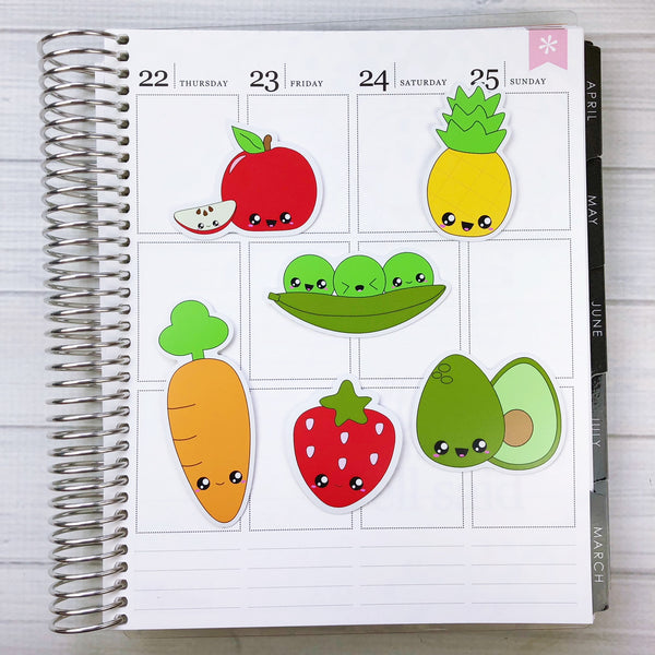 Kawaii Fruit and Veggie Die Cut Sticker Set