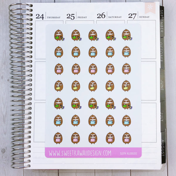 Kawaii Sloth Stickers - Allergies