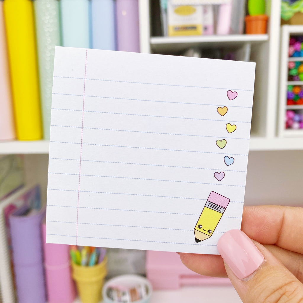 Sticky Note - Pencil/Hearts