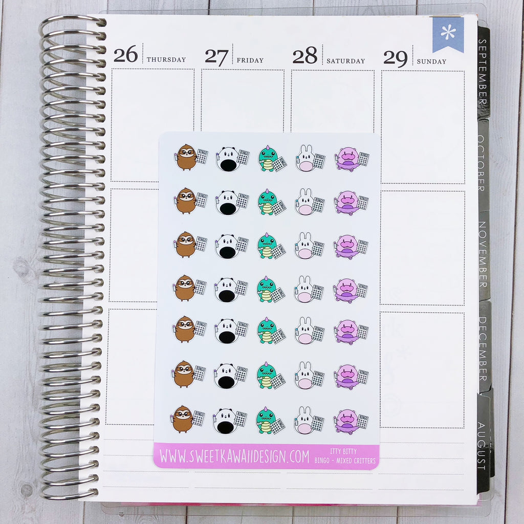 Kawaii Bingo Stickers - Mixed Critters
